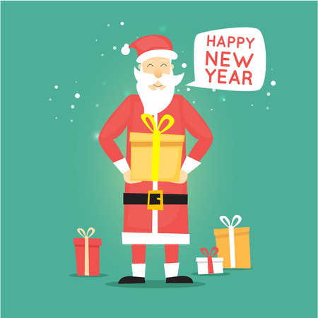 saint nicholas: Santa Claus holding a gift box. Merry Christmas and Happy New Year. Flat design vector illustration.