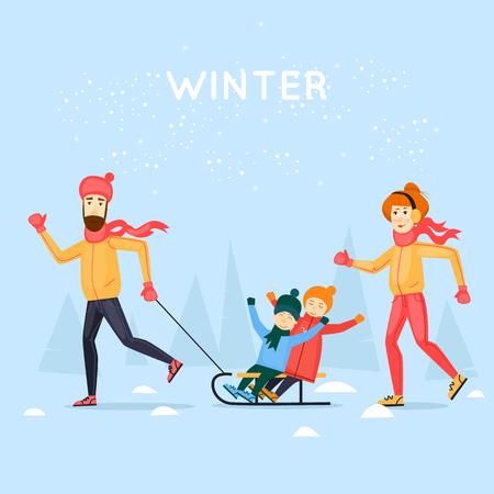 winter snow: Tobogganing with kids. Happy family cartoon. Winter season. Flat design vector illustration.