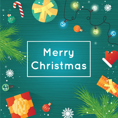 printed matter: Merry Christmas and Happy New Year. Xmas Poster, banner, printed matter, greeting card. Gifts on the floor top view. Wooden board. Flat design vector illustration. Illustration