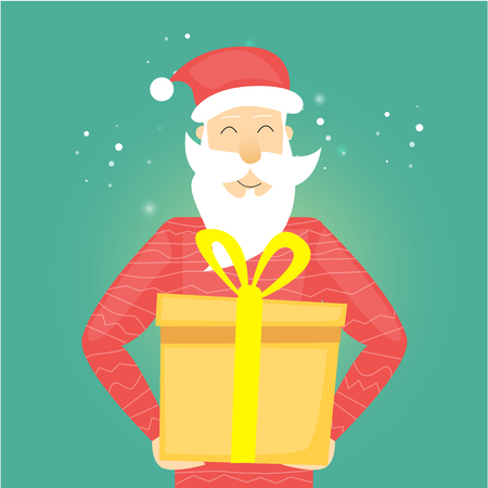 Happy Santa Claus holding a gift box. Merry Christmas and Happy New Year. Xmas Poster, banner, printed matter, greeting card. Flat design vector illustration.