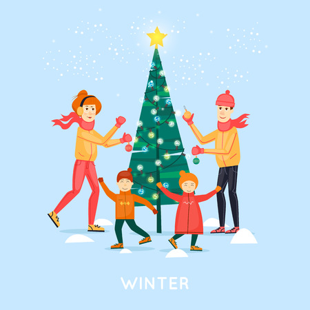Family decorates Christmas tree outdoors. Merry Christmas and Happy New Year. Xmas Poster, banner, printed matter, greeting card, banners. Flat design vector illustration.