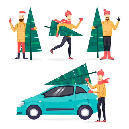 printed matter: Man carries spruce, binds to the car. Merry Christmas and Happy New Year. Xmas Poster, banner, printed matter, greeting card. Flat design vector illustration.