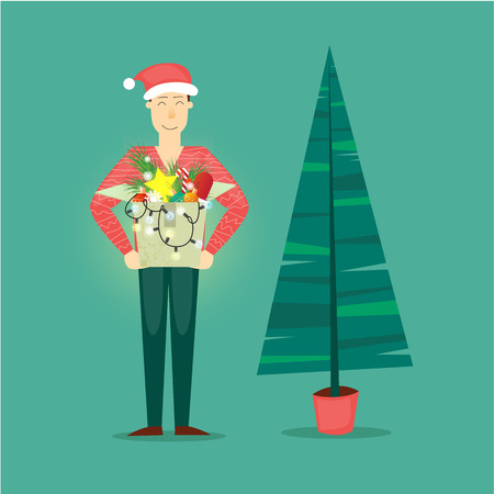 printed matter: Man holding a box with Christmas decorations. Merry Christmas and Happy New Year. Xmas Poster, banner, printed matter, greeting card. Christmas tree. Flat design vector illustration.