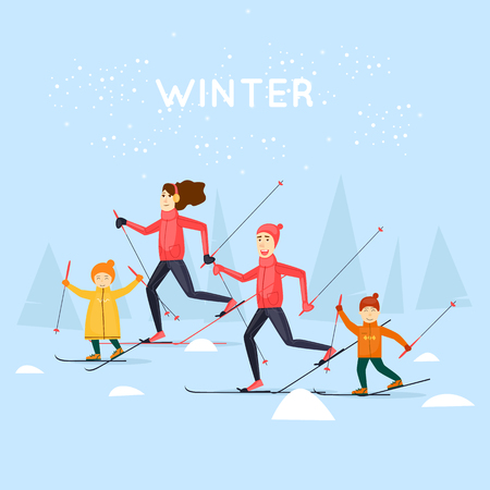 Family skiing. Winter sports. Flat design vector illustration. Illustration