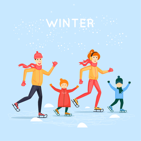 Family skating. Winter sports. Flat design vector illustration.