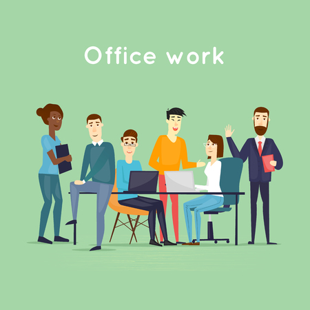 Business characters. Teamwork. Workplace. Office life. Flat design vector illustration. 일러스트