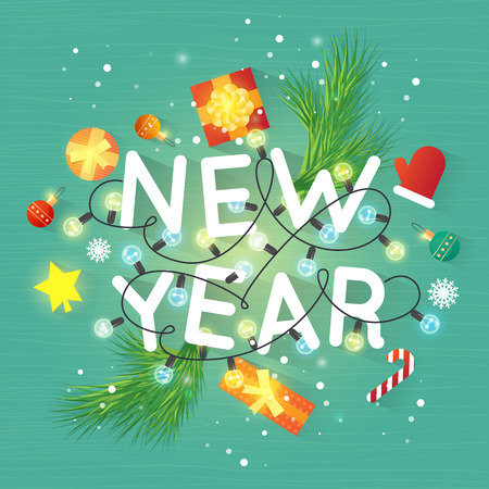 printed matter: Merry Christmas and Happy New Year. Xmas Poster, banner, printed matter, greeting card. Gifts on the floor top view. Flat design vector illustration.