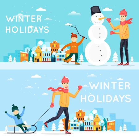father with child: Father and son sculpt snowman. Father sledding child. Winter cityscape, fun, vacation, sports, outdoors. New year. Banners. Flat design vector illustration. Illustration