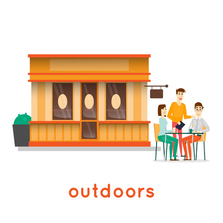 Coffee Shop with people on the street. Isolated background. Flat design vector illustration.