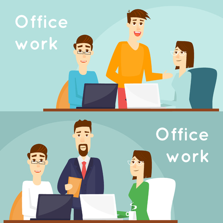Business characters. Co working people, meeting, teamwork, collaboration and discussion, conference table, brainstorm. Workplace. Office life. Banners. Flat design vector illustration.