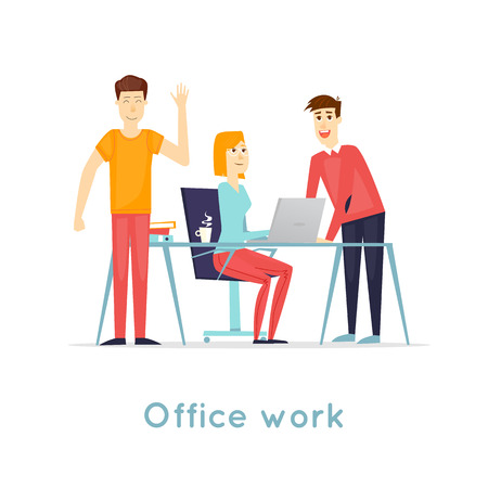 Business characters. Co working people, meeting, teamwork, collaboration and discussion, conference table, brainstorm. Workplace. Office life. Isolated background. Flat design vector illustration. Illustration