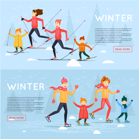 Family skiing and skating. Winter fun, vacation, sports, outdoors. New year. Banners. Flat design vector illustration.