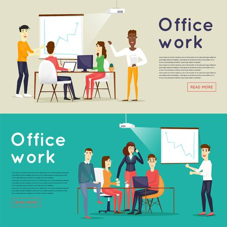 office presentation: Presentation of the project, meeting, teamwork, collaboration and discussion, conference table, brainstorm. Workplace. Office life. Business characters. Banners. Flat design vector illustration.