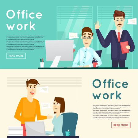 working people: Business characters. Co working people, meeting, teamwork, collaboration and discussion, conference table, brainstorm. Workplace. Office life. Banners. Flat design vector illustration.