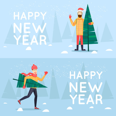 printed matter: Man with the Christmas fir. Merry Christmas and Happy New Year. Xmas Poster, banner, printed matter, greeting card. Flat design vector illustration.