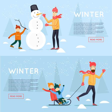 Vader en zoon beeldhouwen sneeuwman. Vader sleeën kinderen. De winter pret, vakantie, sporten, in openlucht. Nieuwjaar. Banners. Platte ontwerp vector illustratie. Stock Illustratie