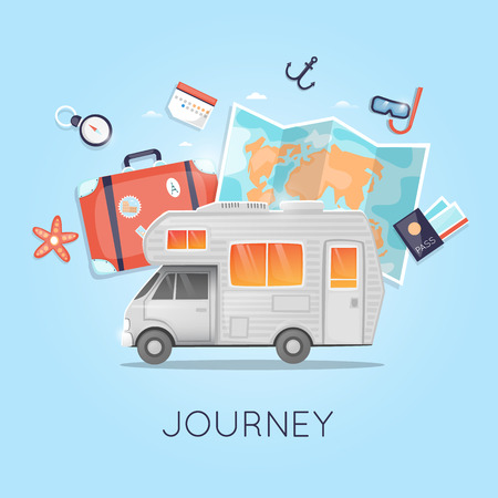 Travel by camper. World Travel. Planning summer vacations. Summer holiday. Tourism and vacation theme. Flat design vector illustration.