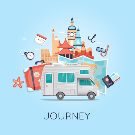 Travel by camper Russia, USA, Japan, France, England, Italy. World Travel. Planning summer vacations. Summer holiday. Tourism and vacation theme. Flat design vector illustration. Illustration