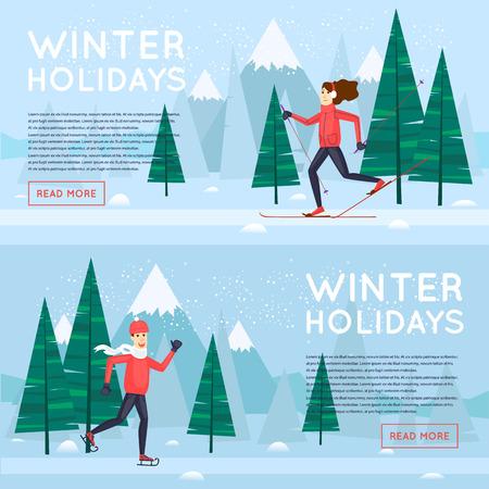 sports girl: Winter sports. Guy skating girl skiing. Banners. Flat design vector illustration.
