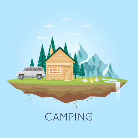 untouched: Camping and hiking. Summer adventure. Tourist. Landscape with house and mountains. Untouched corners of nature. Flat design vector illustration.