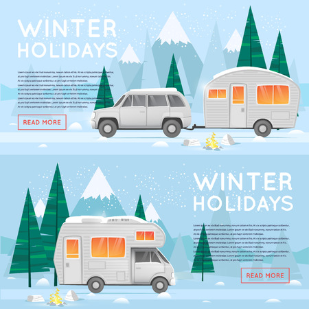 Camping and hiking. Camper. Winter adventure. Tourist. Landscape with mountains. Untouched corners of nature. Flat design vector illustration. Illustration