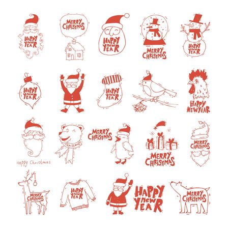printed matter: Merry Christmas and Happy New Year. Xmas Poster, banner, printed matter, greeting card. Lettering, calligraphy. Hand-drawn, lino-cut. Flat design vector illustration. Illustration
