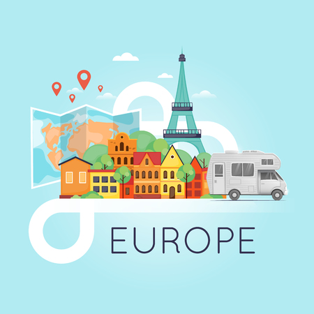 family van: World Travel by camper. Planning summer vacations. Tourism. Euro-trip. Flat design vector illustration.