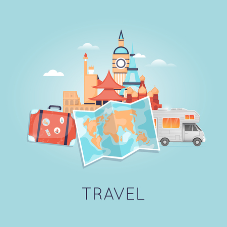 rv: Travel by camper Russia, USA, Japan, France, England, Italy. World Travel. Planning summer vacations. Summer holiday. Tourism and vacation theme. Flat design vector illustration. Illustration