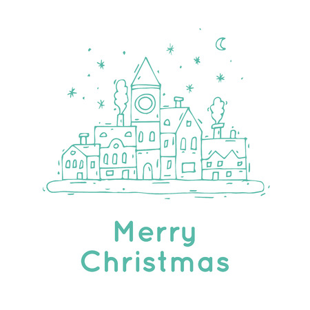 old town: Happy New Year and Merry Christmas. Winter landscape of the old town, snow. Hand-drawn, lino-cut. Thin line. Greeting card. Flat design vector illustration. Illustration