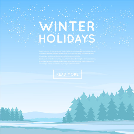 Winter landscape. Flat design vector illustration. Illustration