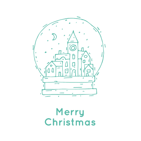 blue roof: Happy New Year and Merry Christmas. Winter landscape of old city in a bowl, snow. Hand-drawn, lino-cut. Greeting card. Flat design vector illustration. Illustration