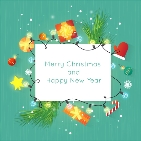 Merry Christmas and Happy New Year. New Year's toys, gifts on the wooden table top view and text. Postcard, banner, printed matter, greeting card. Flat design. Stock Illustratie