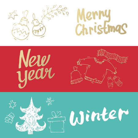 Merry Christmas and happy New Year banners. Hand drawn vintage style. Postcard, printed matter, greeting card, badges, website design, labels, internet marketing. Flat design vector illustration. Stock Illustratie