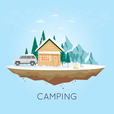 untouched: Camping and hiking. Winter adventure. Tourist. Landscape with house and mountains. Untouched corners of nature. Flat design vector illustration.