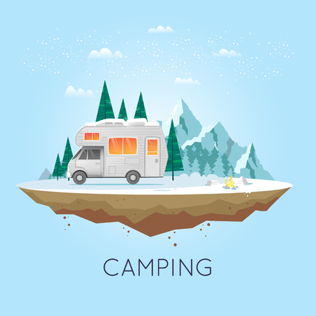 Camping and hiking. Winter adventure. Tourist. Landscape with house and mountains. Untouched corners of nature. Flat design vector illustration.