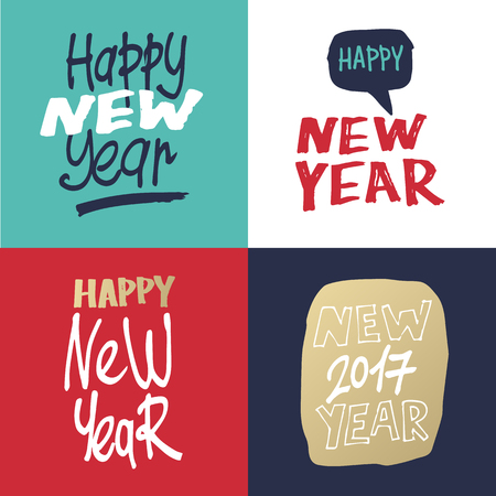 printed matter: Merry Christmas and happy New Year. Hand drawn vintage style. Postcard, printed matter, greeting card, badges, stickers, website design, labels, internet marketing. Flat design vector illustration.