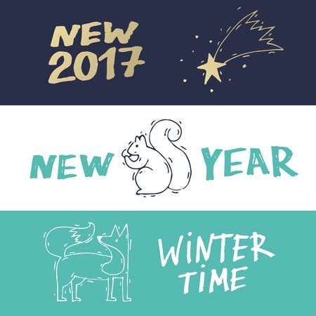 printed matter: Merry Christmas and happy New Year banners. Hand drawn vintage style. Postcard, printed matter, greeting card, badges, website design, labels, internet marketing. Flat design vector illustration. Illustration