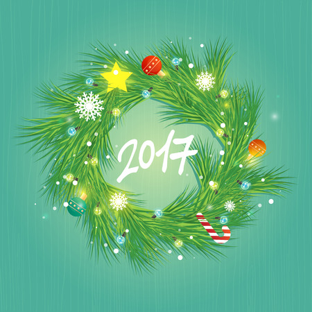 Christmas wreath on wooden background. Happy New Year. Postcard, banner, printed matter, greeting card. Flat design. Illustration