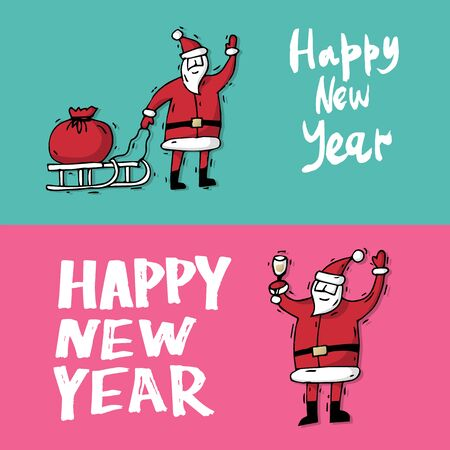 Merry Christmas and happy New Year. Hand drawn vintage style. Postcard, printed matter, greeting card, badges, stickers, website design, labels, internet marketing. Flat design vector illustration.