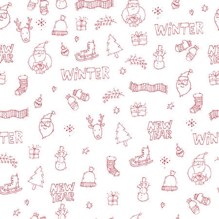 printed matter: Merry Christmas and happy New Year. Hand drawn vintage style. Postcard, printed matter, greeting card. Seamless pattern. Flat design vector illustration. Illustration