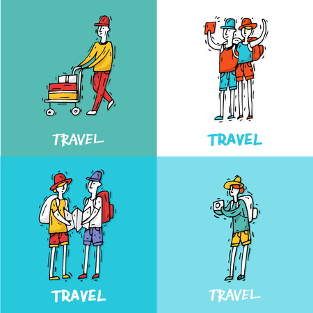 ie: People travel-ling and having a rest. Characters. Hand drawn vintage style. Flat design vector illustration.
