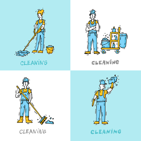 Cleaning staff characters with cleaning equipment. Hand drawn vintage style. Flat design vector illustration.