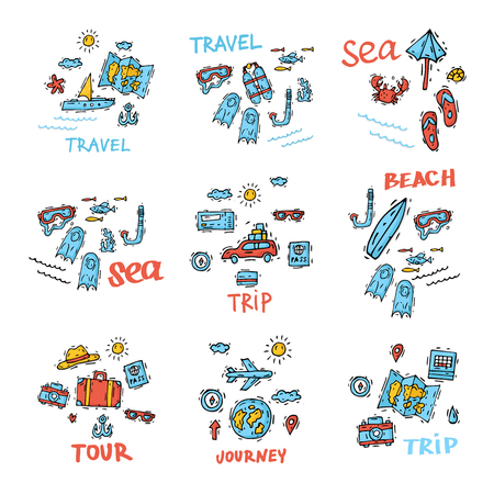 illustration journey: World Travel. Hand drawn. Planning summer vacations. Summer holiday, journey, traveling. Tourism and vacation theme. Flat design vector illustration.