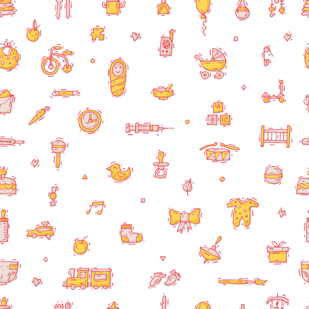 bootees: Baby Seamless pattern, background. Hand drawn vintage style. Flat design vector illustration.