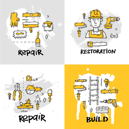 industry design: Building, construction and home repair tools. Instruments, engineering tools, industry equipments, painting. Hand drawn vintage style. Flat design vector illustration.
