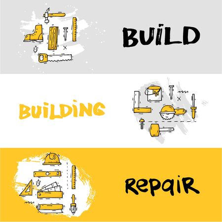 engineering tools: Building, construction and home repair tools. Instruments, engineering tools, industry equipments, painting. Hand drawn vintage style. Banners. Flat design vector illustration.