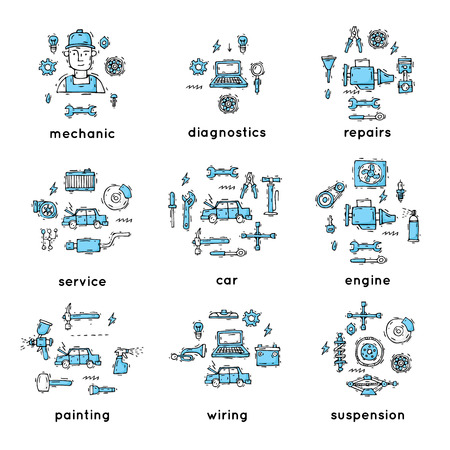 Mechanic. Auto engine repair elements. Suspension, painting, polishing. Car service. Set of icons. Hand drawn vintage style. Flat design vector illustration.
