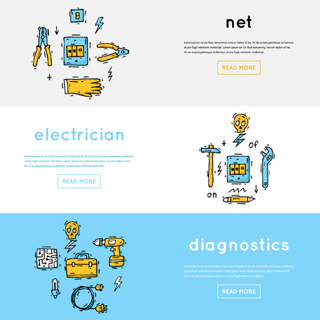 Equipment and tools electrician. Professional. Isolate icons. Hand drawn vintage style. Flat design vector illustration. Illustration