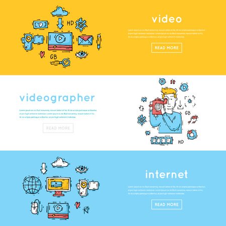 showreel: On-line Movies, post production, film and television collection, video-grapher. Set of icons. Hand drawn vintage style. Flat design vector illustration.