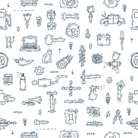 Monteur. Naadloos patroon. Auto motor reparatie-elementen. Opschorten, schilderen, polijsten. Auto onderhoud. Hand getekend vintage stijl. Banners. Platte ontwerp vectorillustratie.